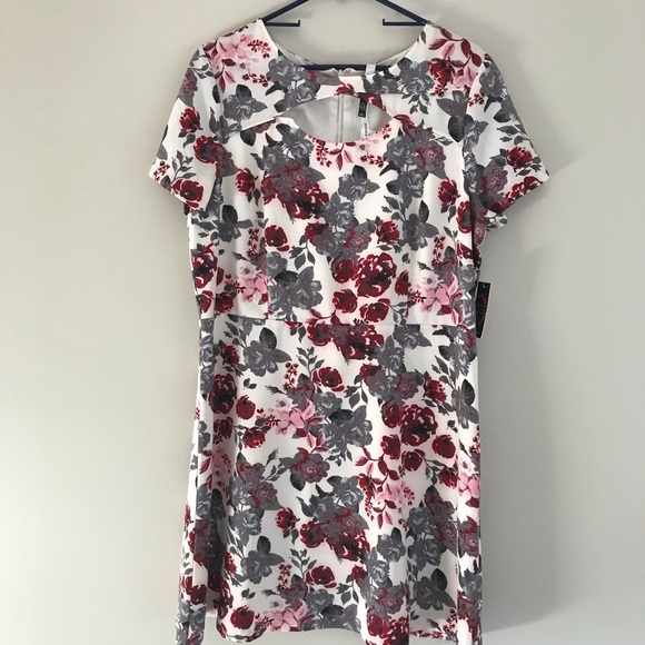 Kensie Womens Short Sleeve Floral Cut Out  A-Line Dress Size M Pink Floral NWT